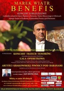 Zaproszenie na benefis tenora Marka Wiatra do RCKP w Krośnie