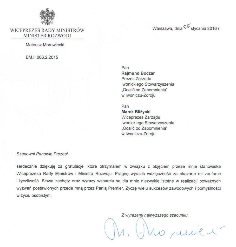 Pismo od min. M. Morawieckiego-1